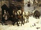 Pferdefüttern vor einem Gasthof im Winter