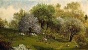Unter blühenden Apfelbäumen