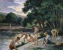 Badende am Ufer des Flusses Cure (Yonne)