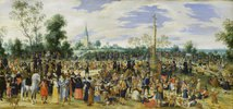 Wallfahrer bei einer Stadt. 1622.
