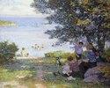 Mütter mit Kindern am schattigen Ufer