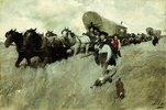 Amerikanische Siedler auf dem Weg nach Westen