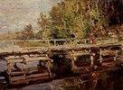 Holzbrücke im Herbst
