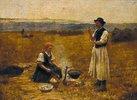 Ungarisches Bauernpaar beim Bereiten des Abendmahls