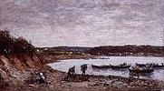 Fischer am Strand bei Brest