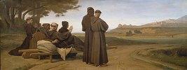 Der sterbende Franz von Assisi auf dem Wege nach Ste.-Marie-des Anges. Im Hintergrund Assisi