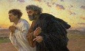 Am Morgen der Auferstehung. Die Jünger Petrus und Johannes auf dem Weg zum Grab