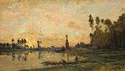 Sonnenuntergang über dem Fluss Oise