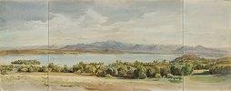 Der Starnberger See mit der Roseninsel und der Benediktenwand