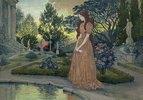 Junge Frau in einem Garten