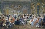 Lesung einer Tragödie von Voltaire im Salon der Mme. Geoffrin