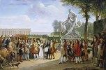 Ludwig XIV. bei der Enthüllung der Skulptur Milon von Croton von P.Puget