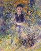 Junges Mädchen auf einer Gartenbank