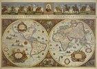 Erdkarte in zwei Hemisphären mit Bildnis Papst Innozenz XI. und Reiterbildnissen europäischer Fürsten