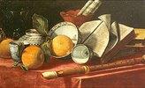 Stillleben mit Orangen, Buch und Flöte
