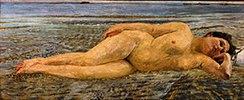Am Strande. 1890. Lwd., 76 x 182 cm