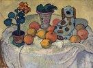 Stilleben mit Orangen und Steingut-Hund