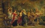 Lot verlässt mit seiner Familie das brennende Sodom
