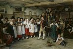 Tanzpause bei einer elsässischen Bauernhochzeit