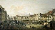 Der Altmarkt in Dresden von der Seegasse aus. 1751 (?)