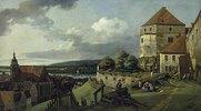 Pirna von der Festung Sonnenstein aus gesehen. Zwischen