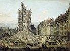 Die Trümmer der ehemaligen Kreuzkirche in Dresden