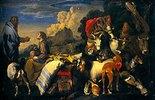 Noah und seine Familie betreten die Arche