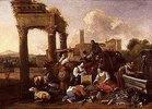 Marktszene an einer Tempelruine