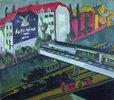 Strassenbahn und Eisenbahn, Blick aus dem Atelier des Künstlers