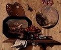 Trompe-l'Oeil: Schale mit Kirschen,Dose, Notenblatt,Palette und zwei Bildern