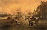 Marktszene am Fluss-Ufer (Wien?)