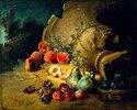 Obststillleben neben einer gestürzten Steingutvase