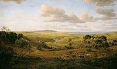 Landschaft bei Geelong (Australien) mit Ochsenkarren