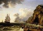 Ein britisches Kriegsschiff und andere Schiffe in der Bucht von Neapel