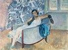 Dame mit schwarzen Handschuhen, in einem Sessel sitzend