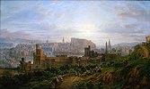 Edinburgh. Blick vom Carlton Hill über das Gefängnis und die Stadt zum Schloss