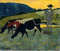 Bauer mit drei Kühen