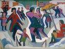 Eisbahn mit Schlittschuhläufern