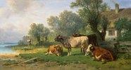 Hüterbub mit Kühen am See-Ufer