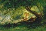 Maler am Waldrand mit Blick in ein Flusstal