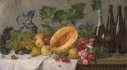 Früchtestillleben mit Trauben, Birnen, Äpfeln und Melone, sowie Weinflaschen