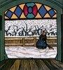 Schneekehrende Frau.  Weihnachtskarte der Wiener Werkstätten, No