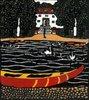 Teich mit Booten und Schwänen. Karte der Wiener Werkstätten, No
