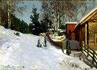 Spielende Kinder auf verschneiter Dorfstrasse