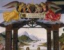 Flusslandschaft und anbetende Engel; Detail aus Anbetung der Könige