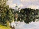 Blick über den Fluss auf ein russisches Kloster. Anfang 20.Jahrhunderts