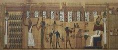 Aus dem Buch des Todes. Begräbnis-Papyrus: Horus u. Anubis beim Wiegen d. Seele