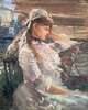 Junge Frau hinter der Jalousie