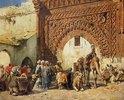 Karawane aus dem Sudan vor einem marokkanischen Stadttor