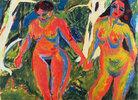 Zwei nackte Frauen im Wald